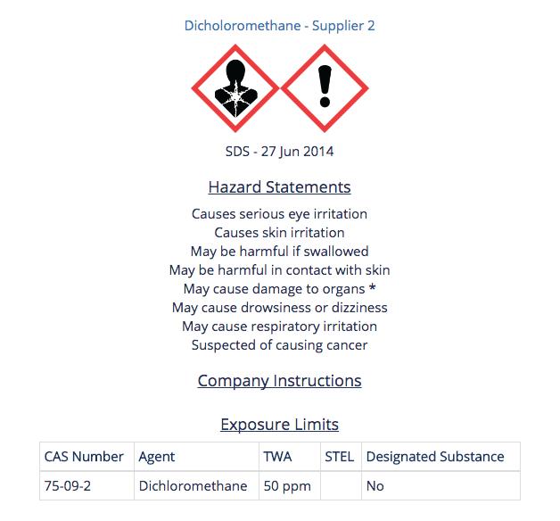 Dichloromethane Summary - Supplier 2