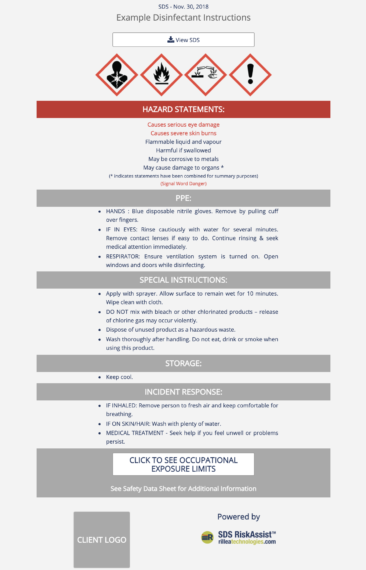 SDS RiskAssist™ 1-page chemical safety summary