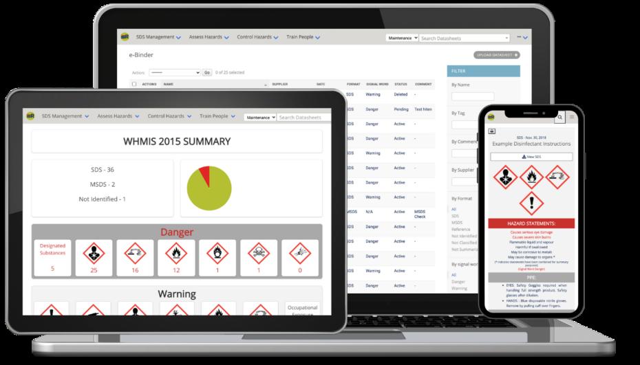 SDS RiskAssist SDS Management and Chemical Safety Software on phone, tablet, and desktop